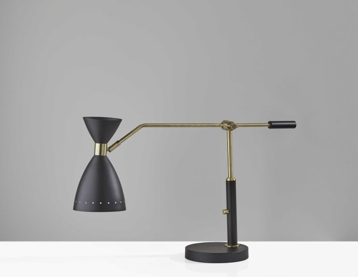 Cinch Brass and Black Metal Adjustable Desk Lamp