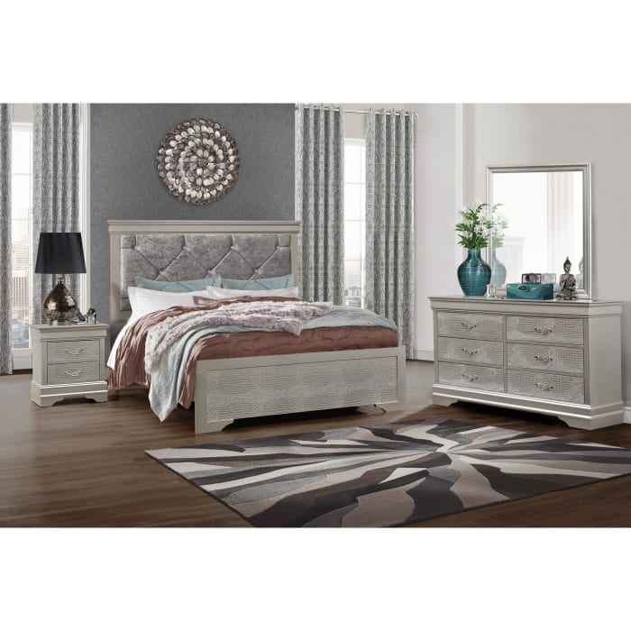Silver Tone 2 Drawer Nightstand