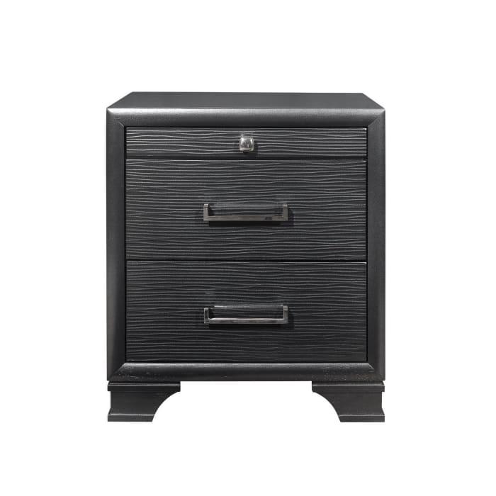 Grey 3-Drawer Nightstand
