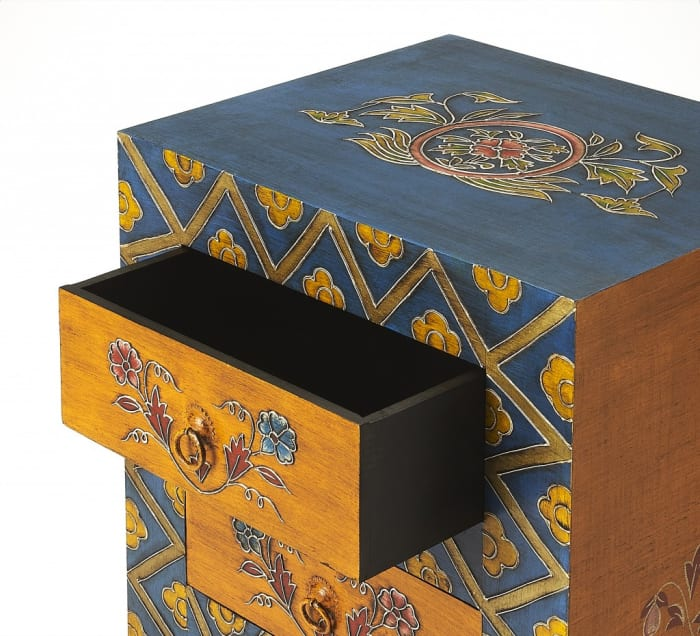 Exotic Hand Painted 3-Drawer Accent Chest