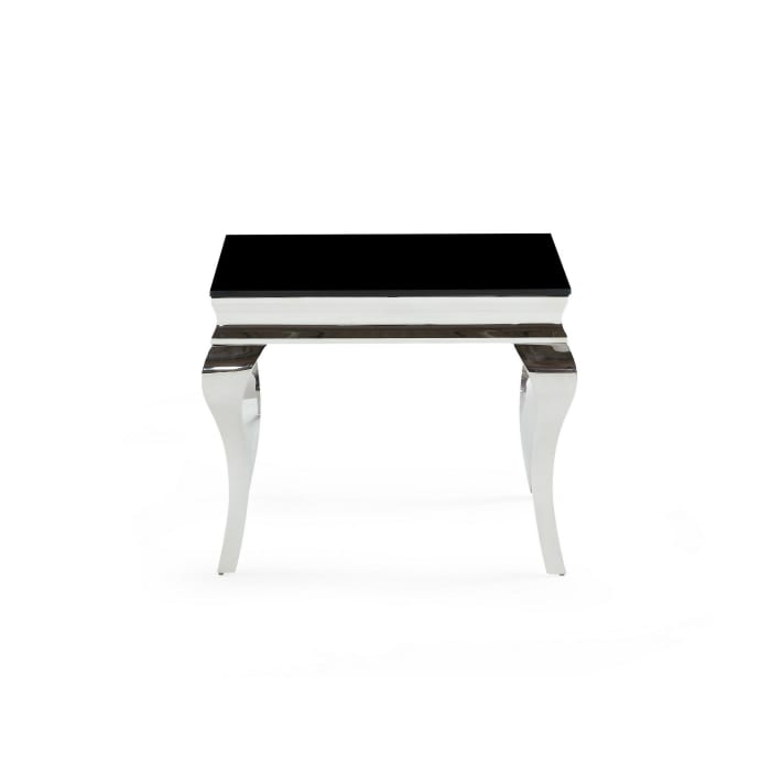 Silver tone Black Glass top End Table