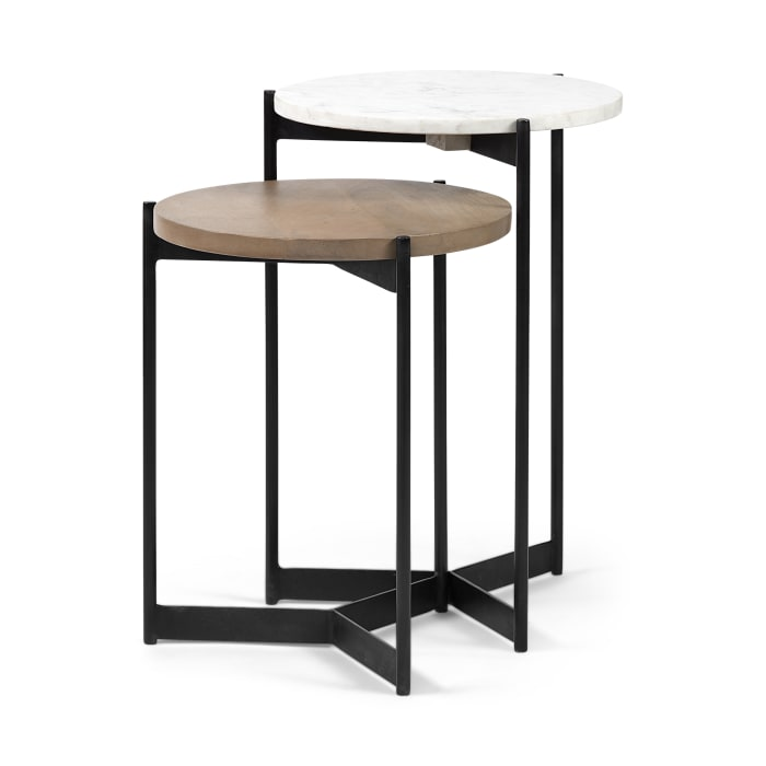 Medium Brown Wood with Marble Set of 2 Nesting Side Tables
