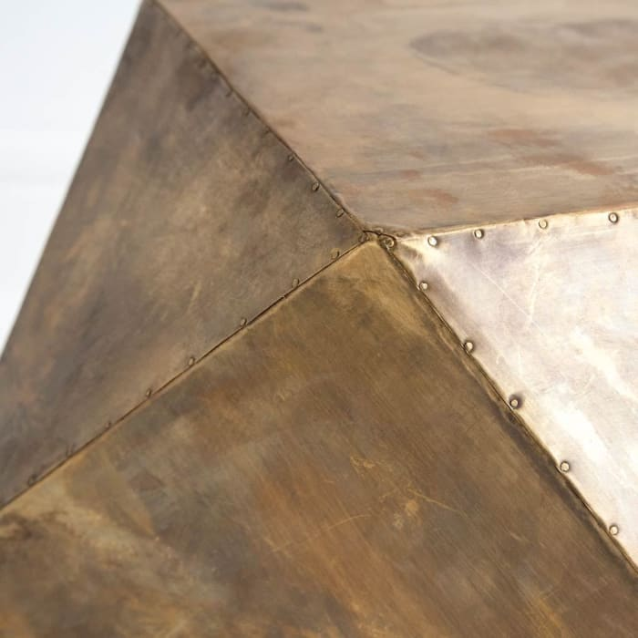 Brass Iron Plated Hexagonal Square Top Side Table