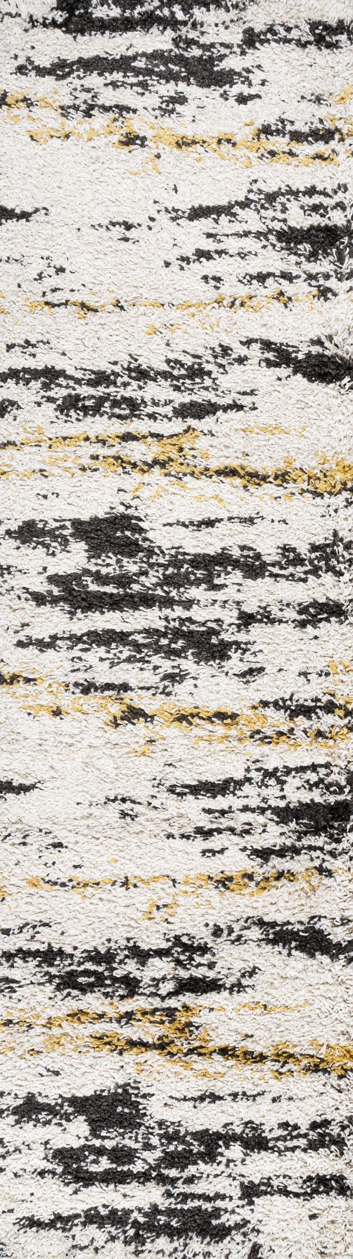 Nova Modern Bold Stripe Shag Runner Rug