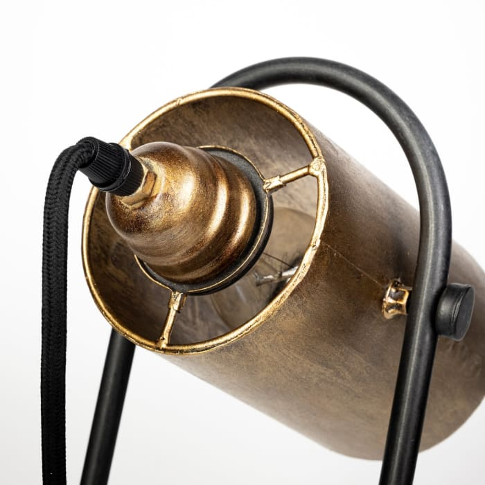 Brent Gold and Black Metal Conical Shade Table Lamp