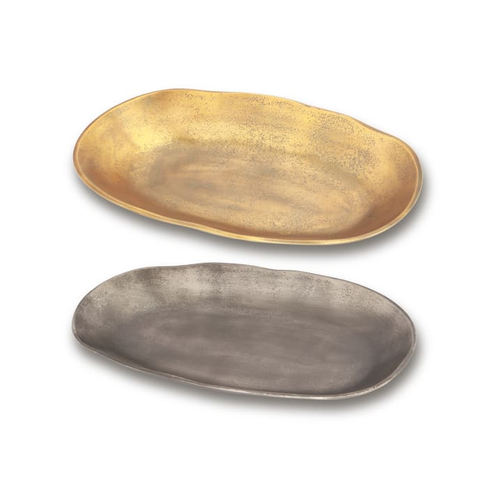 Gray and Brass Aluminum Oval Platters