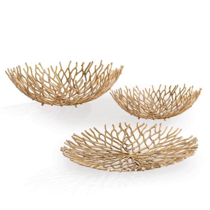 Coral Design Set of 3 Aluminum  Bowls