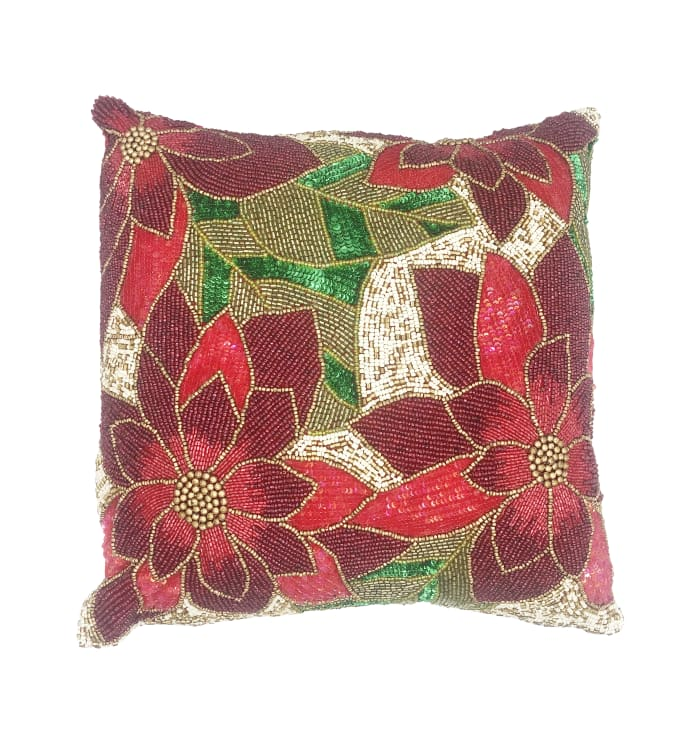 Pax Square Red Green Beads Decorative Throw Pillow