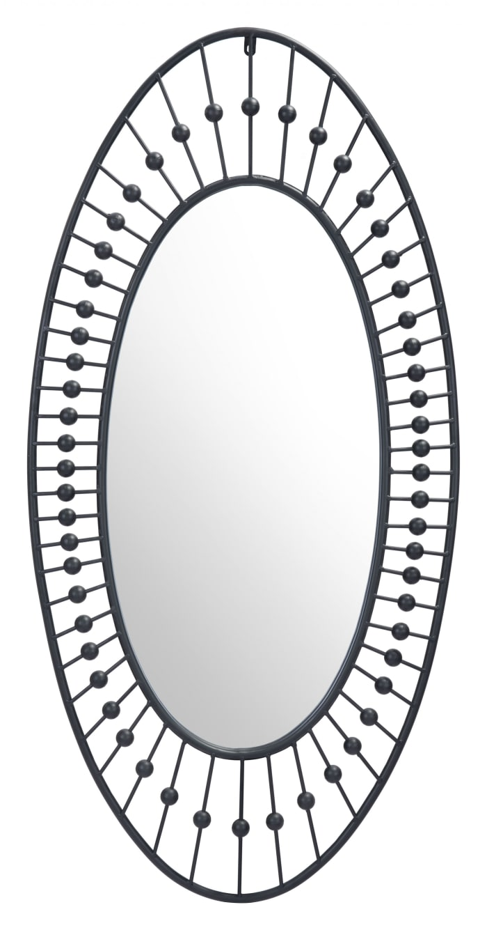 Black Finish Spokes and Beads Oval Wall Mirror