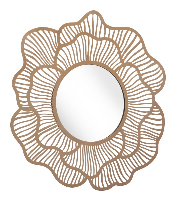 Flower Lines Gold Finish Wall Mirror