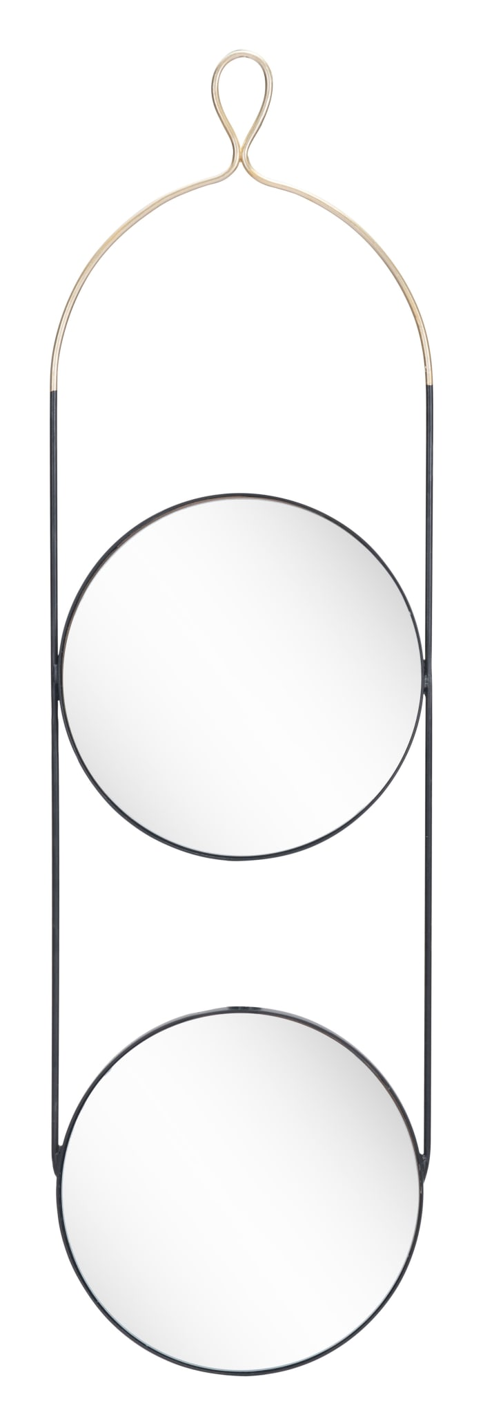 Double Gold and Black Round Hanging Mirror
