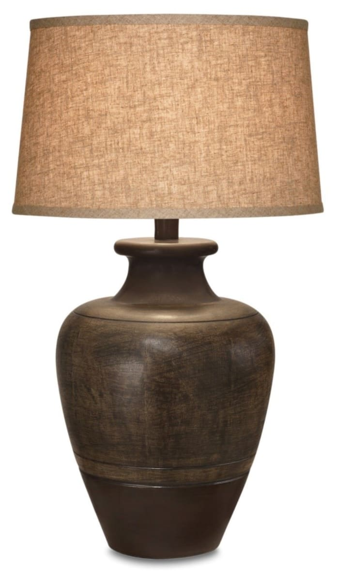 Rustic Brown Two Tone Ceramic Set of 2 Table Lamps