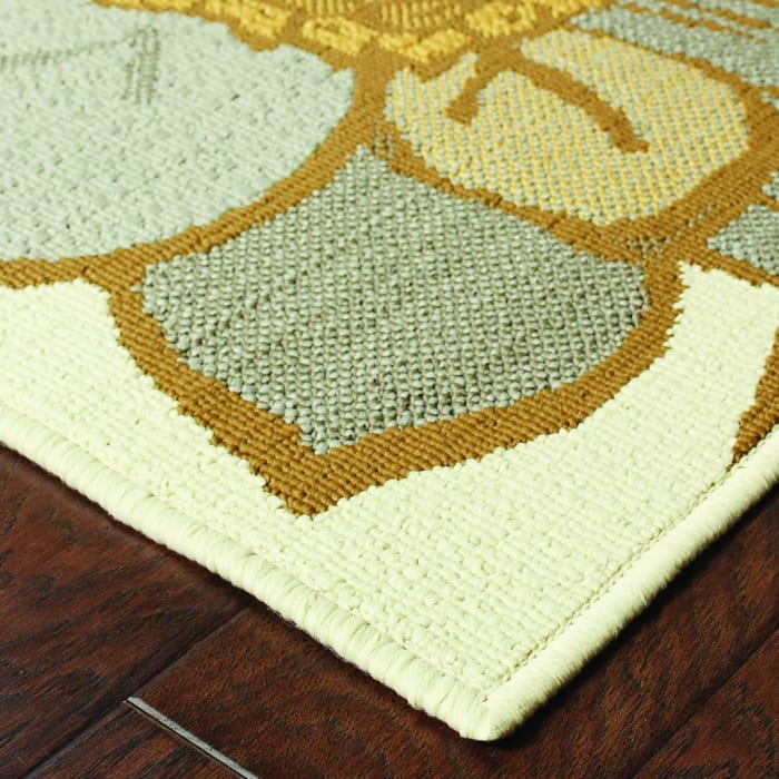 Floral Blooms Ivory Gray Large Outdoor Area Runner Rug