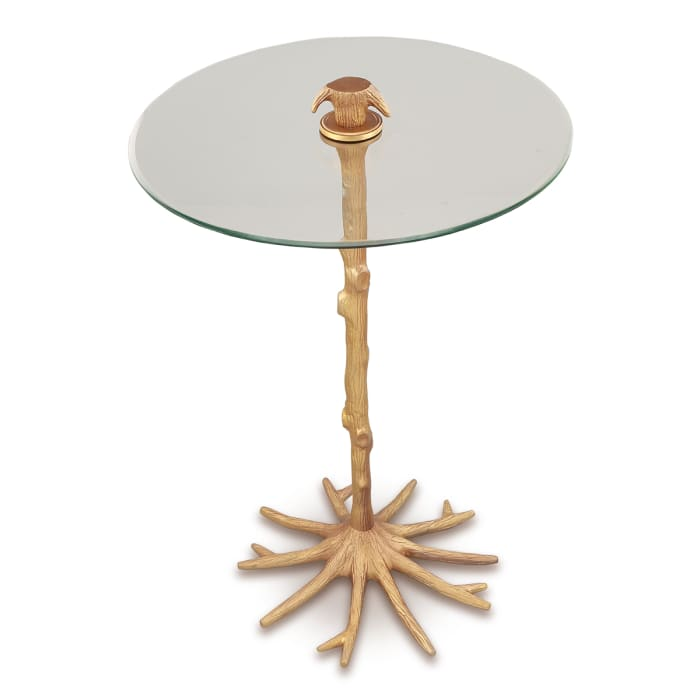 Tree Trunk Antique Gold Aluminum End Table
