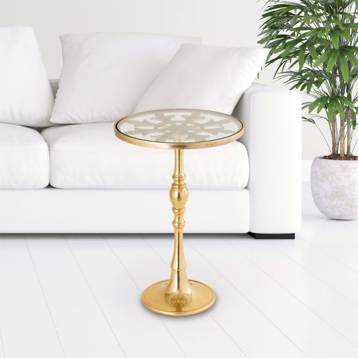 Tudor Design Polished Gold Aluminum End Table
