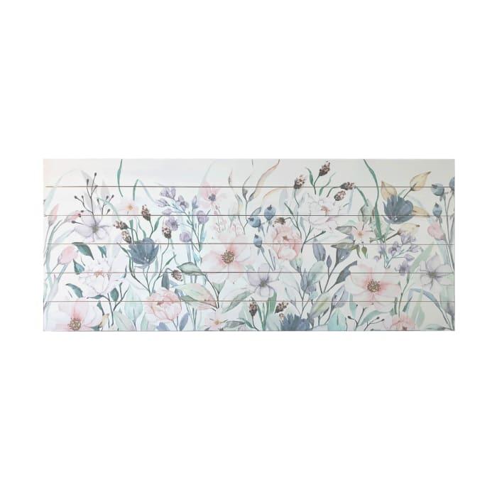 Pink Garden Print on Wood Wall Art
