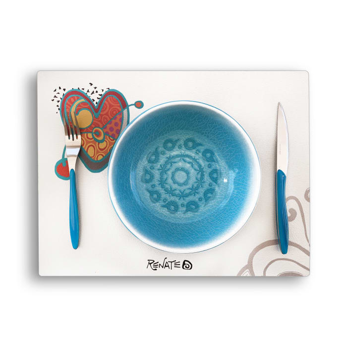 Love Antibacterial White Faux Leather Set of 4 Placemats