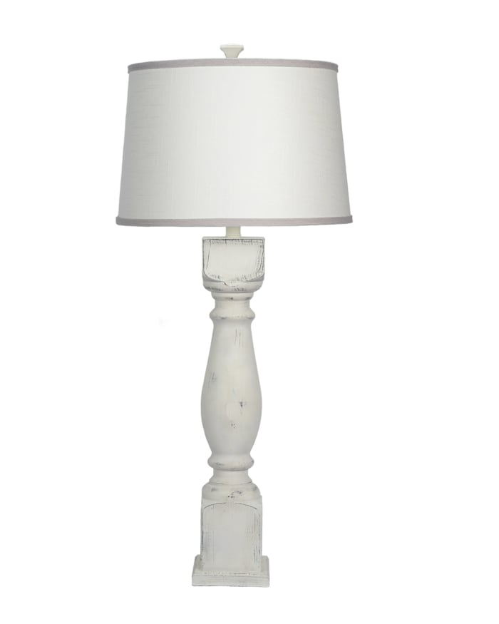 Ivory and Grey Shade Distressed White Table Lamp