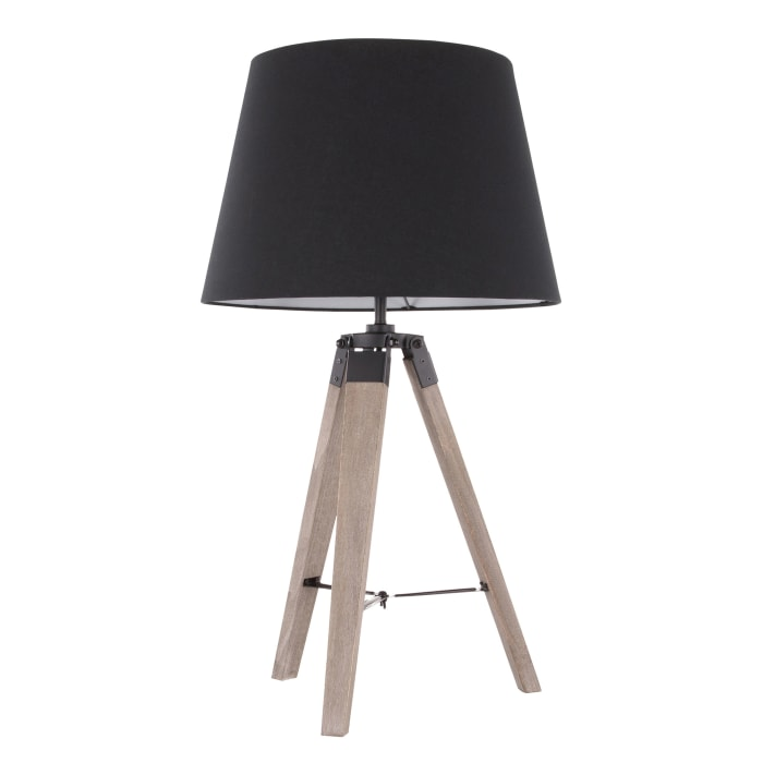 Compass Grey Washed Wood and Black Shade Table Lamp