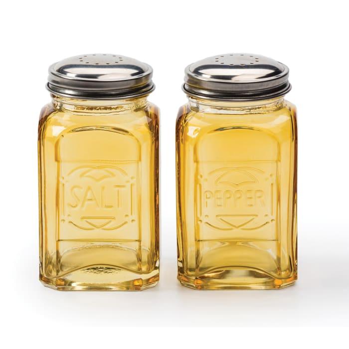 Retro Glass Amber Salt & Pepper Set