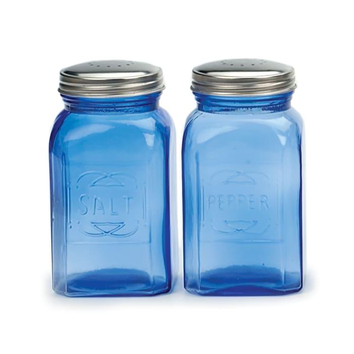Retro Glass Blue Salt & Pepper Set