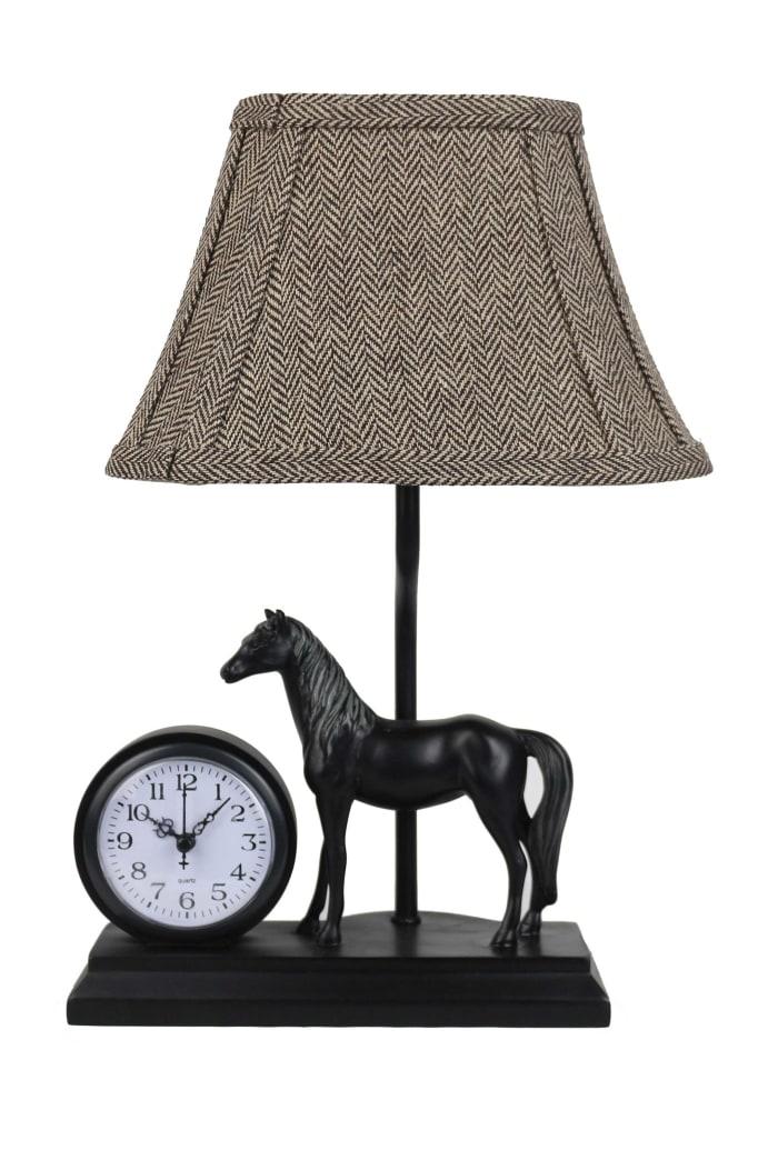 Stallion Desk Clock and Table  Lamp