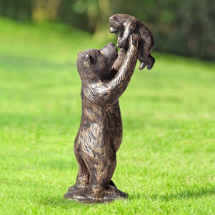 Bear and Cub Antique Bronze Aluminum Garden Sculpture