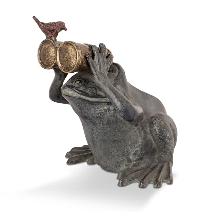 Frog Spectator Verdigris Aluminum Garden Sculpture