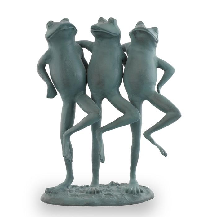 Dancing Frog Trio Verdigris Aluminum Garden Sculpture