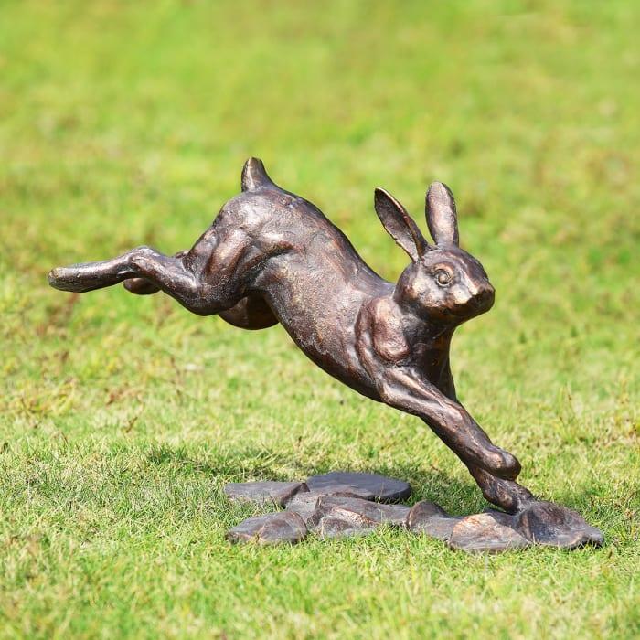 Running Rabbit Antique Bronze Aluminum Garden Sculpture