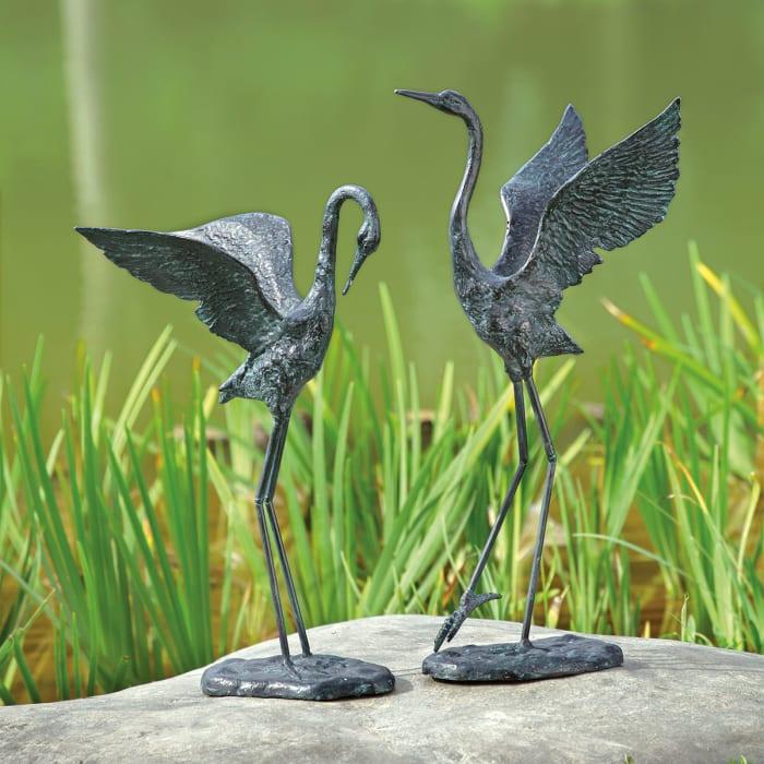 Exalted Crane Pair Antique Verdigris Cast Iron Garden Sculpture