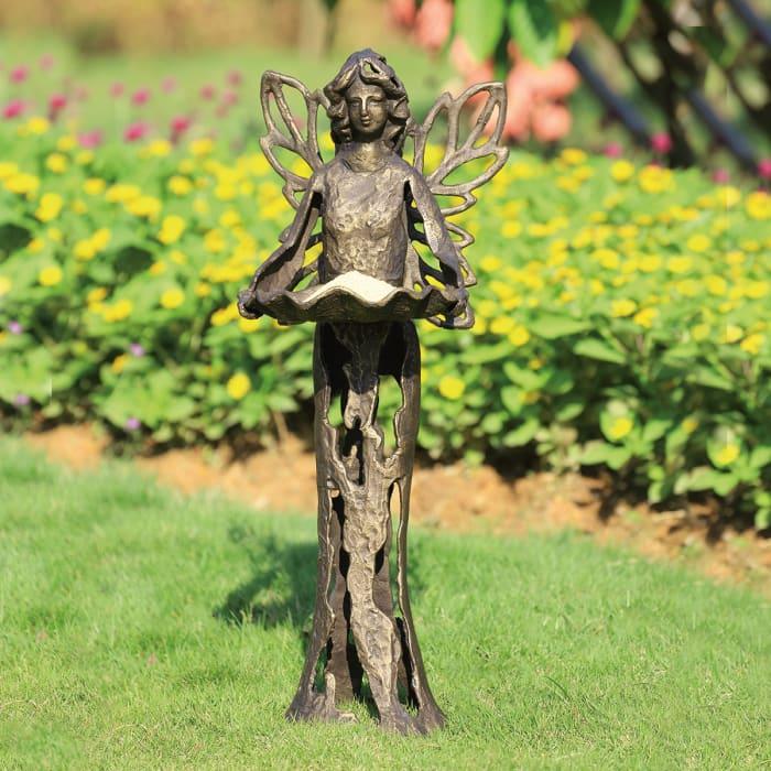Stylized Fairy Antique Bronze Cast Iron Birdfeeder