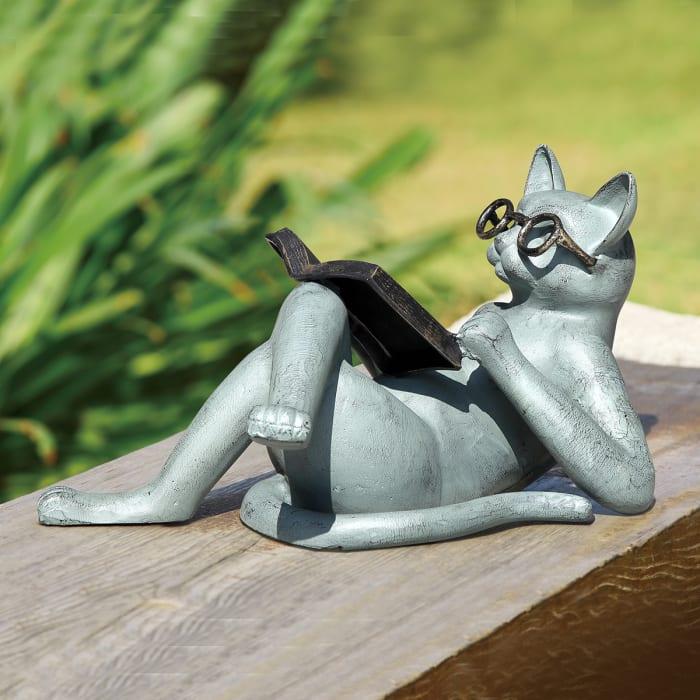 Literary Cat Verdigris Aluminum Garden Sculpture