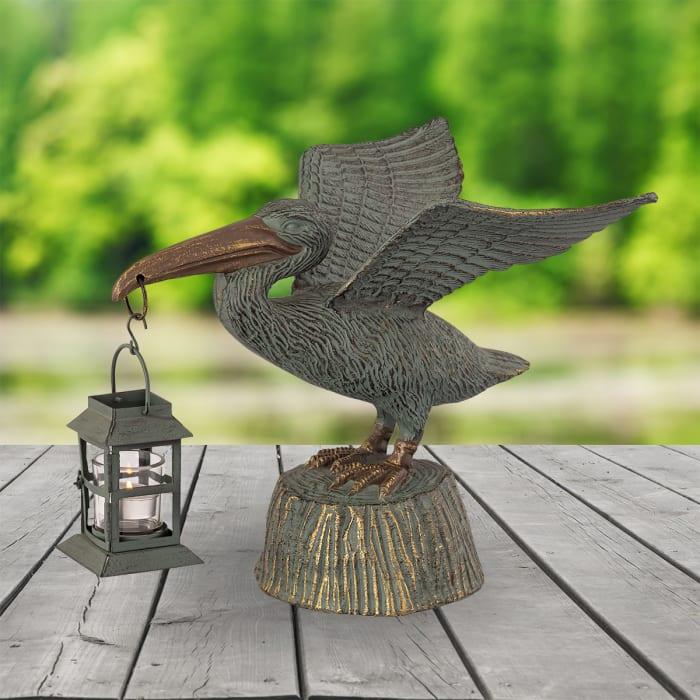Pelican Antique Verdigris with Lantern Aluminum Garden Sculpture