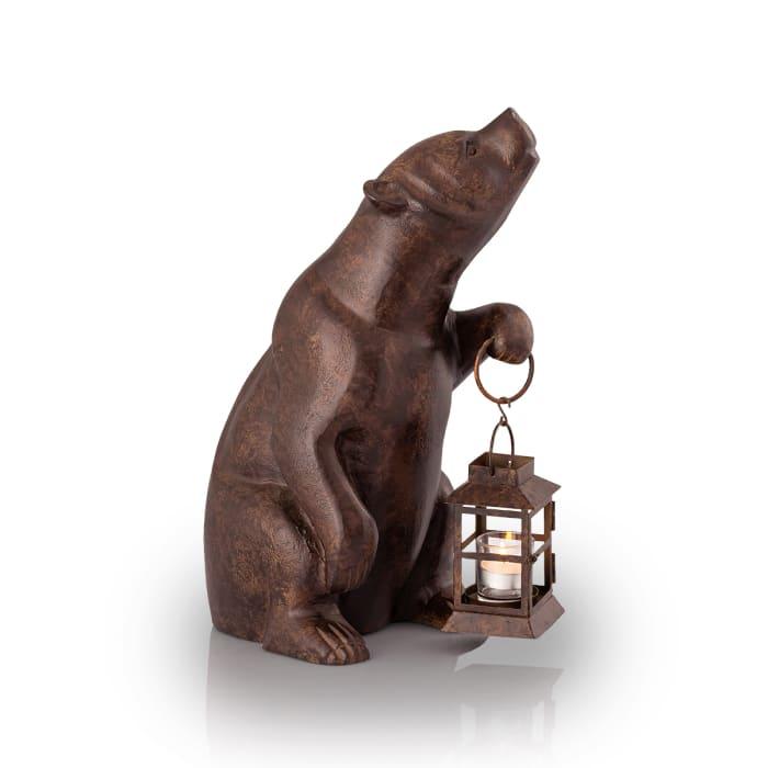 Bear Aluminum Antique Bronze with Lantern Garden Sculpture