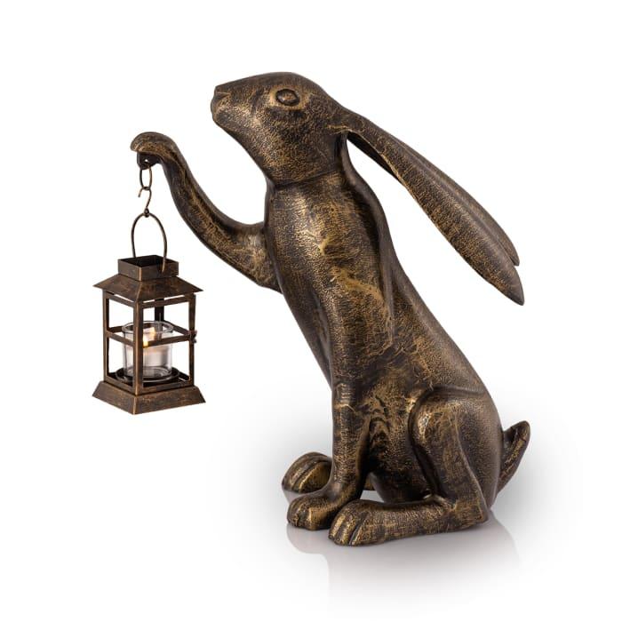 Big Bunny Antique Bronze with Lantern Aluminum Garden Sculpture