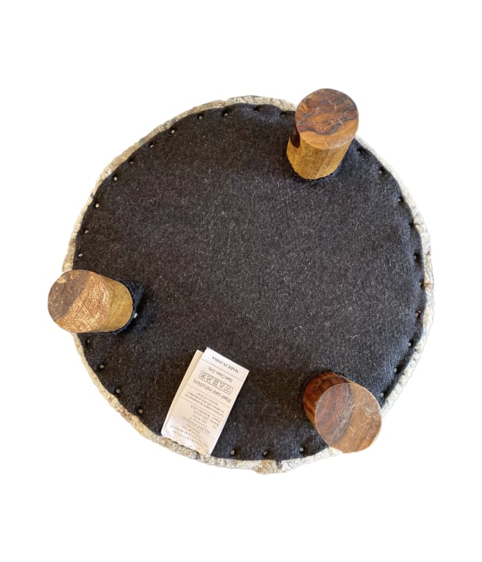 Isla Blue Green and Grey Round Abstract Wool Stool