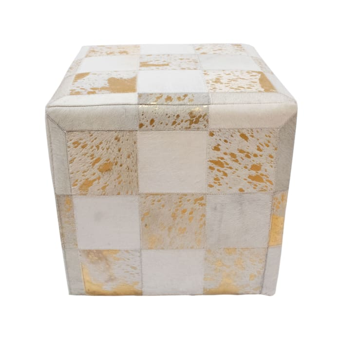 Flynn Ivory and Gold Cowhide Ottoman
