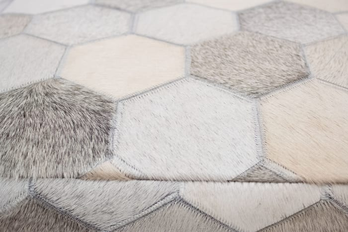 Eli Ivory and Grey Cowhide Ottoman