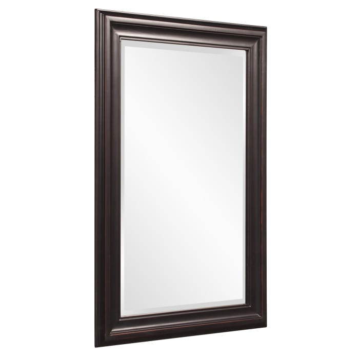 Rectangle Oil Rubbed Bronze Finish Mirror with Wooden Bronze Frame