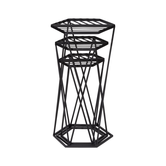 Glitzhome Modern Hexagon Black Metal Set of 3  Plant Stands