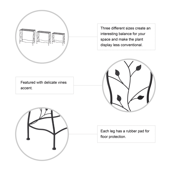 Glitzhome Rectangular Nesting Black Set of 3 Planter Stands