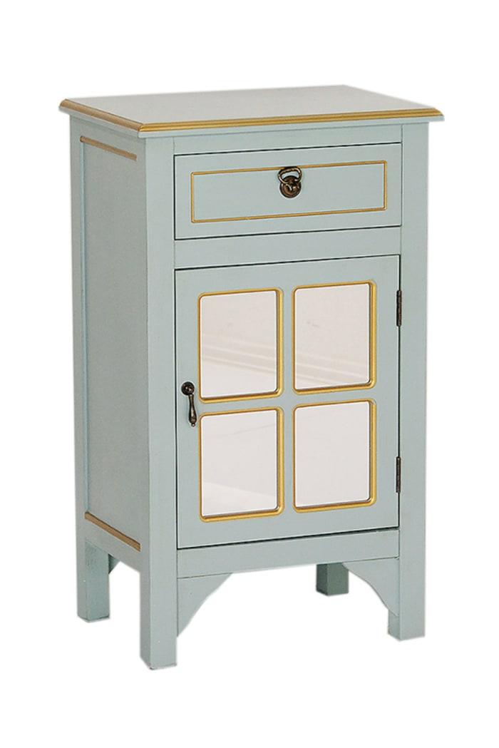 Wood Finish Mirrored Door Cabinet