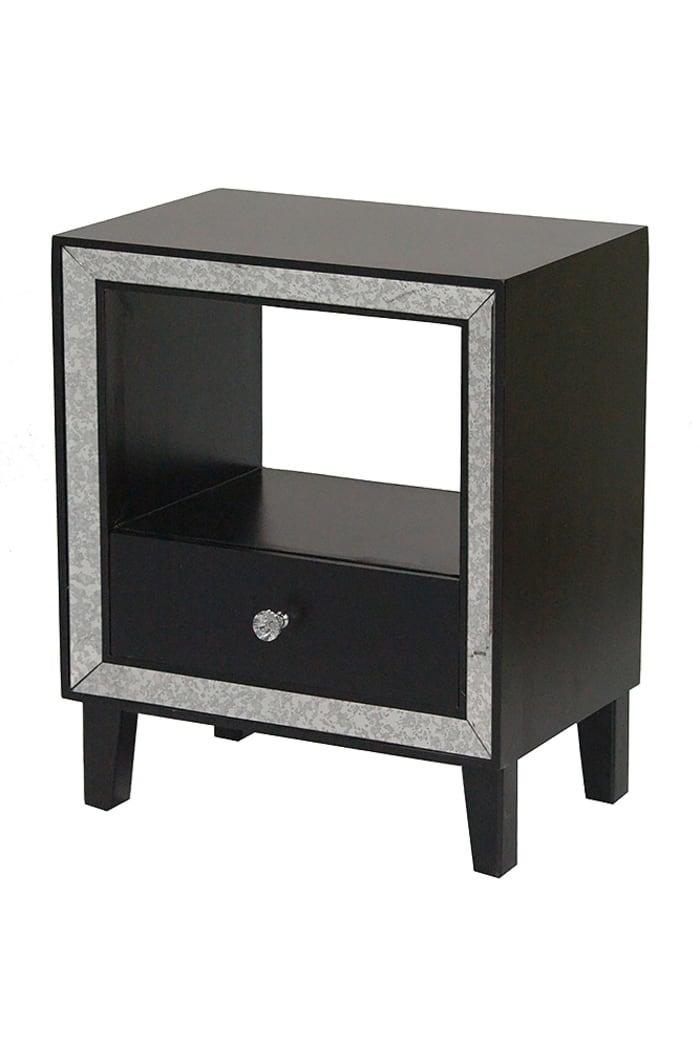 Wood Finished Mirrored Glass Shelf Cabinet