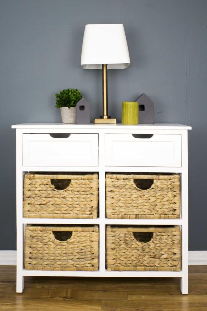 Modern Farmhouse Wood Finish Basket Cabinet