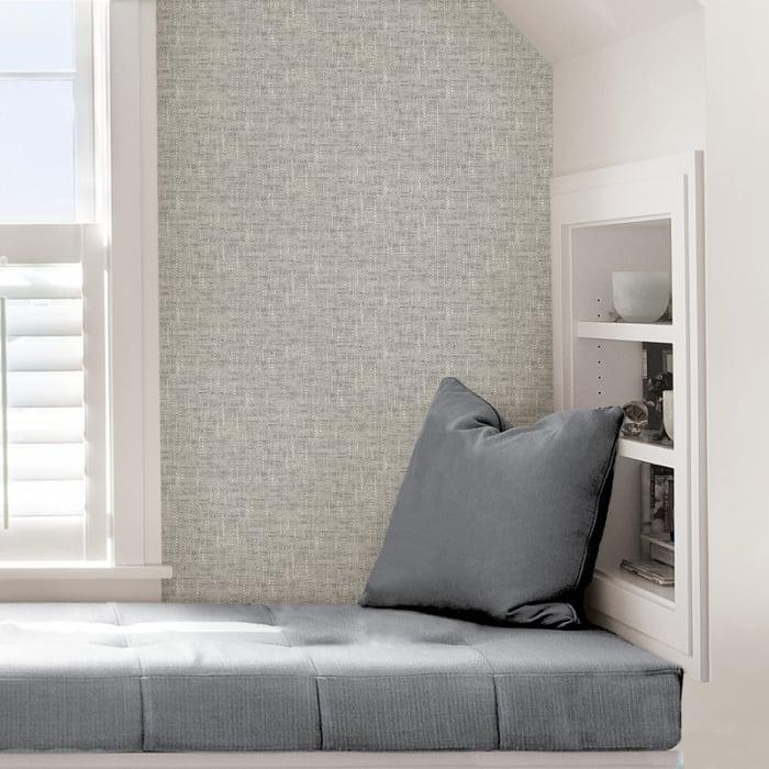 Grey Poplin Texture Peel and Stick Wallpaper