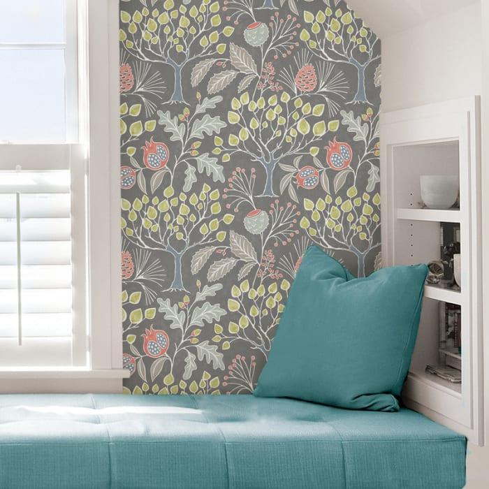 Groovy Garden Grey Peel and Stick Wallpaper