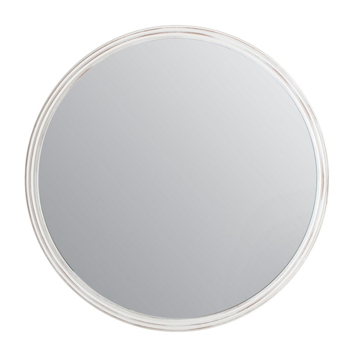 White 30 in. Round Carved Frame Wall Mirror