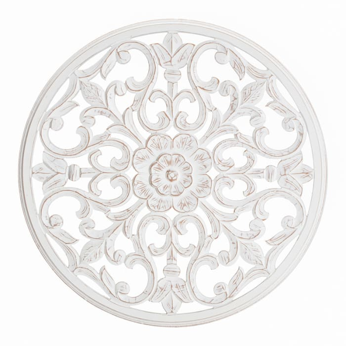 Bastia White Round Medallion Wall Accent