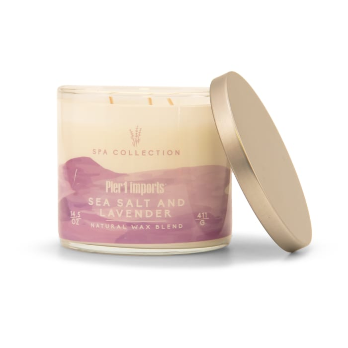 Pier 1 Spa Collection Sea Salt & Lavender Filled 3-Wick Candle